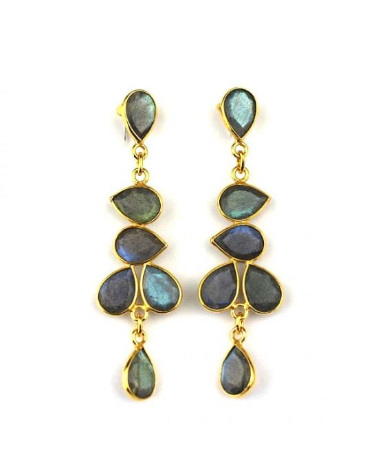 Labradorite Gold Plated Drop Earrings - EARRINGS