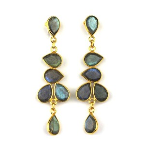 Labradorite Gold Plated Drop Earrings