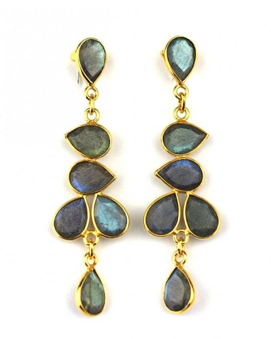 Labradorite Gold Plated Drop Earrings