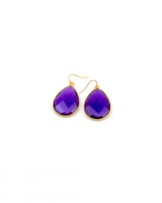Large Amethyst Hook Earrings - EARRINGS