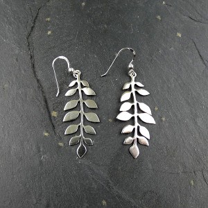 Long Leaf Silver Drop Earrings