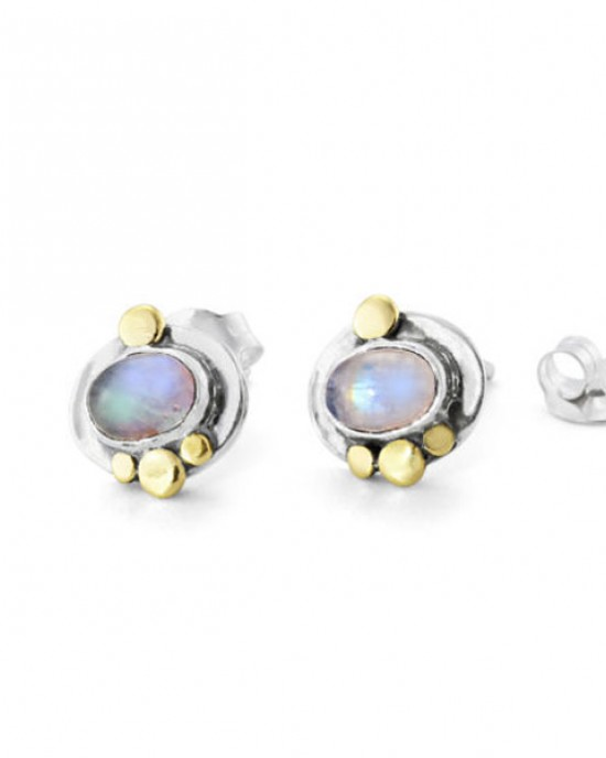 Silver Stud Moonstone Earrings
