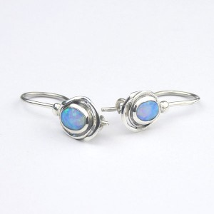 Oval Opalite Silver Hook Earrings