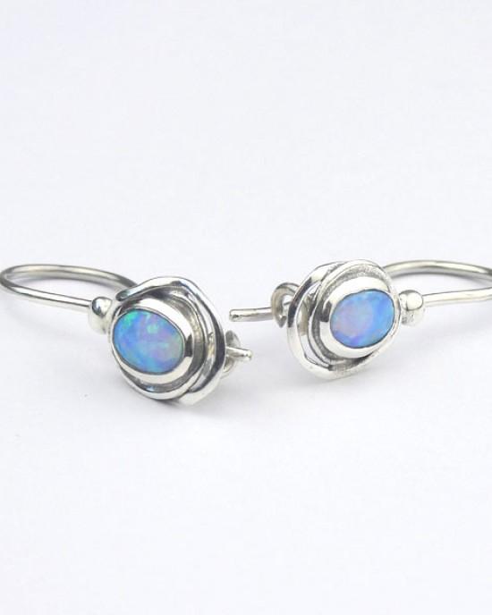 Oval Opalite Silver Hook Earrings