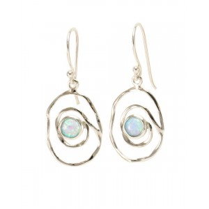 Opalite Silver Spiral Earrings
