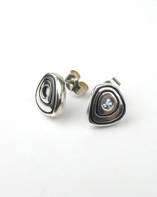 Silver and Sky Blue Topaz Stud Earrings