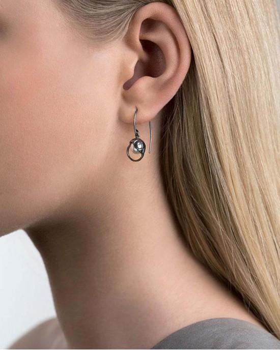 Oxidised Silver Crystal Pearl Earrings - EARRINGS