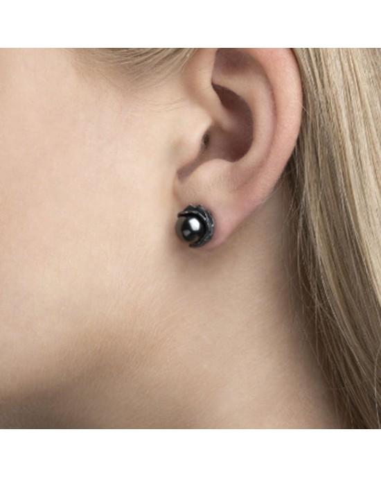 Oxidised Silver with Black Crystal Pearl Earrings - EARRINGS