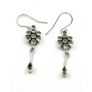 Peridot Flower Drop Silver Earrings
