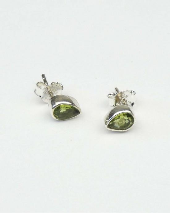 Peridot Teardrop Silver Stud Earrings - EARRINGS
