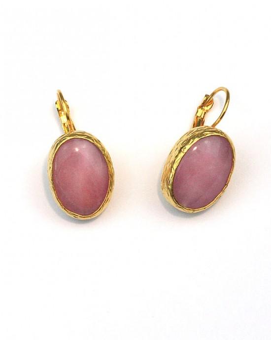 Rose Quartz Disc Earrings in 24k Gold Plate
