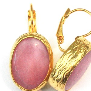Rose Quartz Disc Earrings in 24k Gold Plate