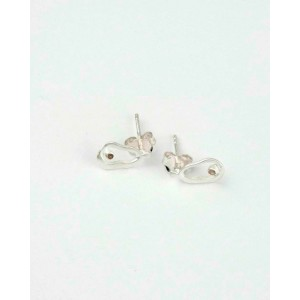 Satin Silver Diamond Stud Earrings