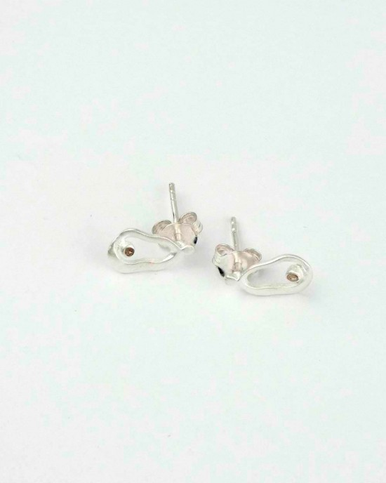 Satin Silver Diamond Stud Earrings,EARRINGS,Banyan Jewellery