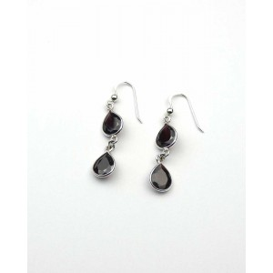 Silver Double Garnet Hook Earrings