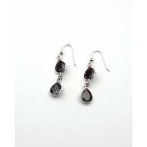 Silver Double Garnet Hook Earrings