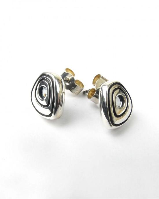 Silver and Sky Blue Topaz Stud Earrings - EARRINGS