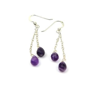 Amethyst Silver Chain Earrings