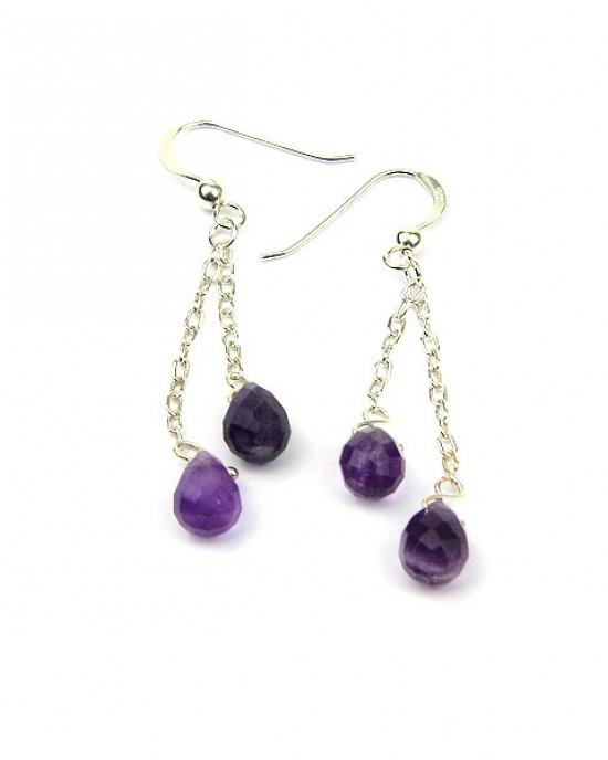 Amethyst Silver Chain Earrings