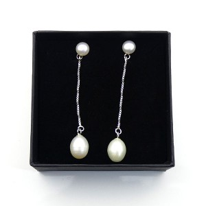 Long Drop Silver & Pearl Earrings