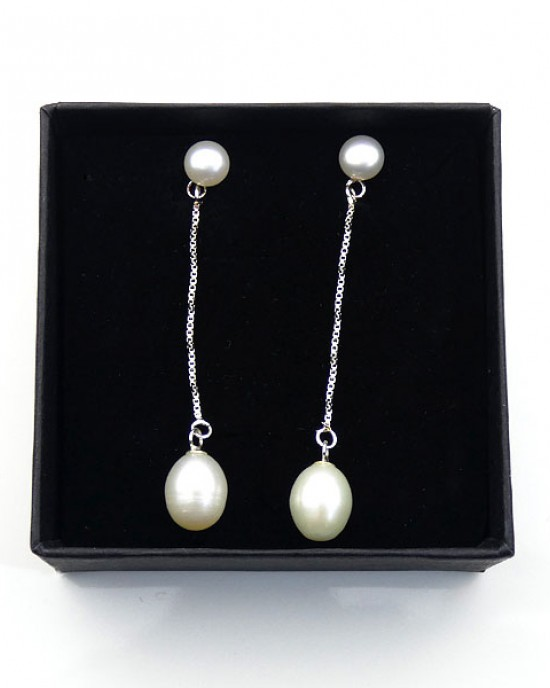 Long Drop Silver & Pearl Earrings