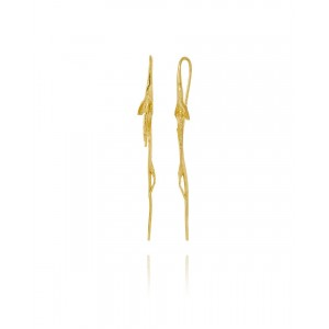 Silver Hook Earrings, Gold Plated, Long