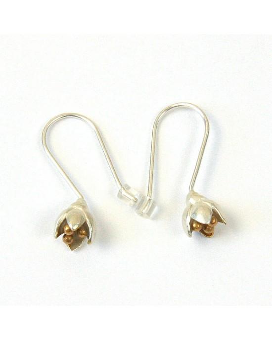 Silver Flower Bud Drop Earrings - EARRINGS