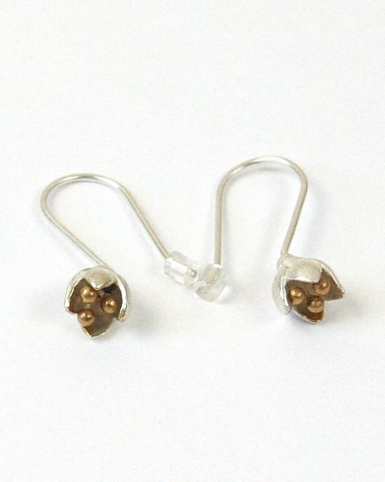 Silver Flower Bud Drop Earrings