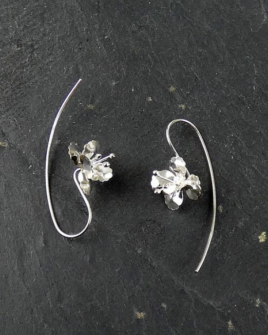 Silver Flower Hook Earrings