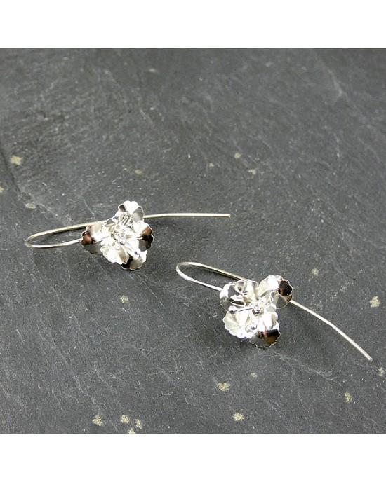 Silver Flower Hook Earrings - EARRINGS