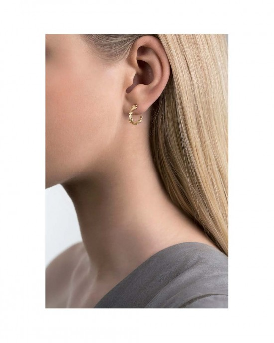 Silver Gold Plated Curved Earrings, ERIKA - EARRINGS