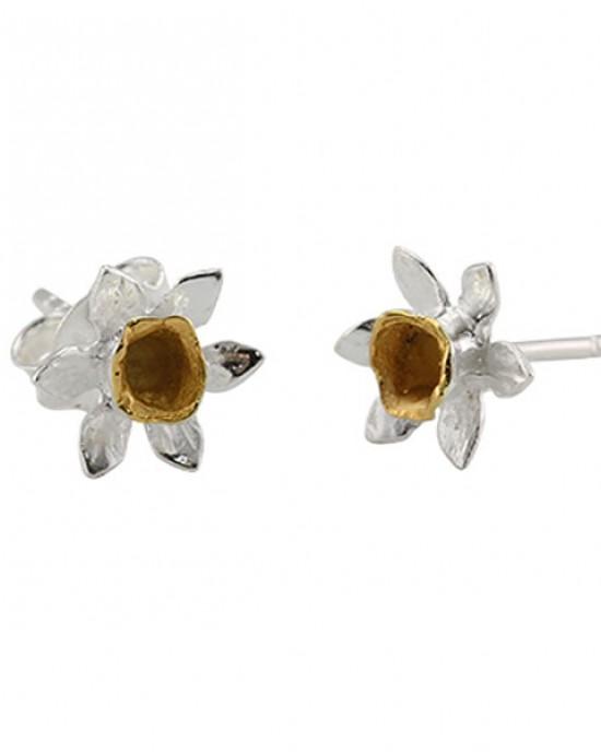 Silver Gold Plated Daffodil Stud Earrings,EARRINGS,Banyan Jewellery