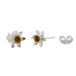 Silver Gold Plated Daffodil Stud Earrings