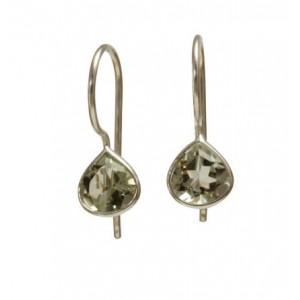 Green Amethyst Tear Drop Earrings
