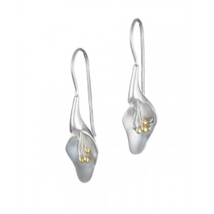 Silver Lily Hook Earrings - Small
