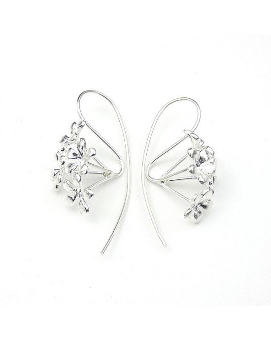 Silver Multi Flower Hook Earrings - EARRINGS
