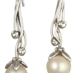 Ornate Pearl Silver Hook Earrings