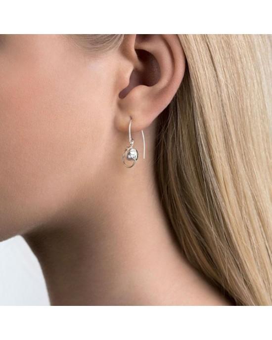 Silver Sand Crystal Pearl Earrings - EARRINGS