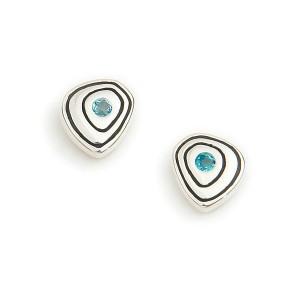 Silver and Sky Blue Topaz Stud Earrings