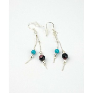 Long Silver Hook Earrings, Turquoise, Jasper Beads