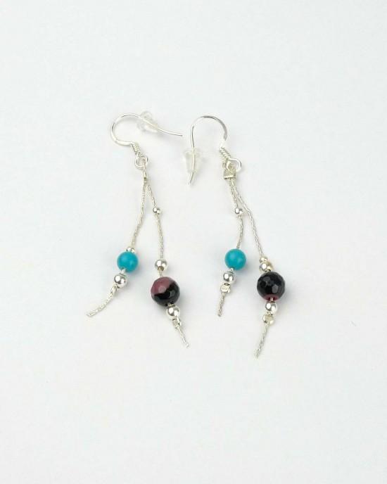 Long Silver Hook Earrings, Turquoise, Jasper Beads,EARRINGS,Banyan Jewellery