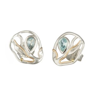 Silver stud Blue Topaz Goldfill Earrings
