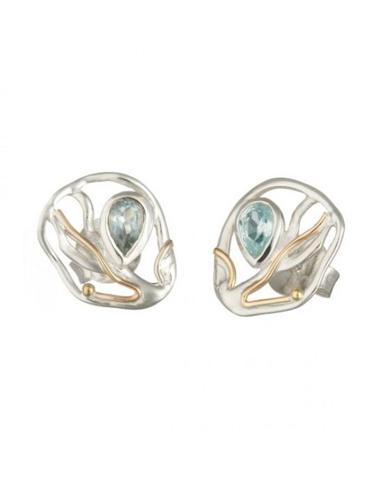 Silver Stud Blue Topaz Goldfill Earrings - EARRINGS
