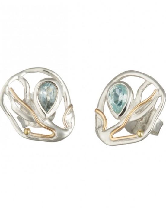 Silver stud Blue Topaz Goldfill Earrings