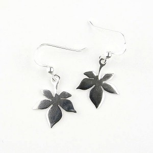 Small Sterling Silver Leaf Earrings