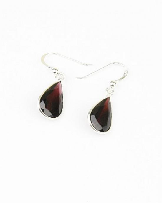Silver Garnet Drop Earrings