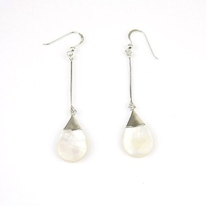 Long Silver Shell Hook Earrings