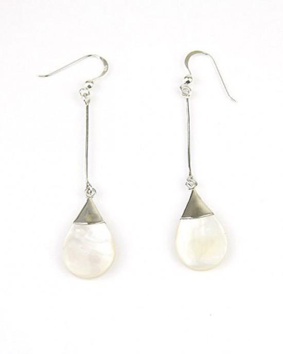 Long Silver Shell Hook Earrings
