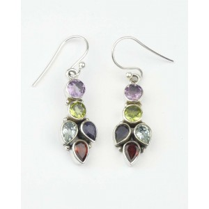 Mixed Stone Silver Earrings