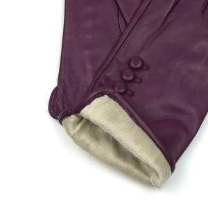 Leather Gloves in Berry Red